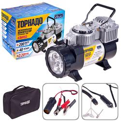 Компрессор "Торнадо" КА-Т121220 200psi/15Amp/40л/фонарь/прикур.+переходник/шланг 3,0м