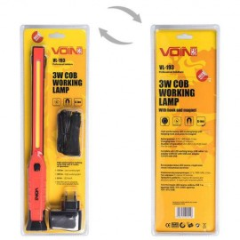 Переносная лампа VOIN VL-193 12V/220V/3W-COB+2 LED-НР/АКБ/USB+microUSB/магнит (VL-193) фото - купить