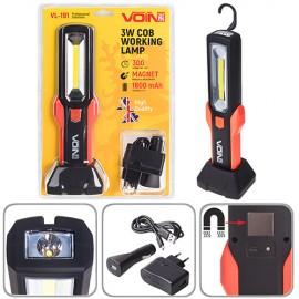 Переносная лампа VOIN VL-191 12V/220V/3W-COB+2 LED-НР/АКБ/USB+microUSB/магнит/база (VL-191) фото - купить