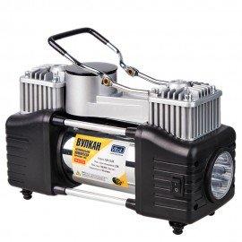 Компрессор Вулкан КА-В12122 150psi/25Amp/90л/клеммы/шланг7,5м с дефлятором/фонарь/2 цилиндра фото - купить